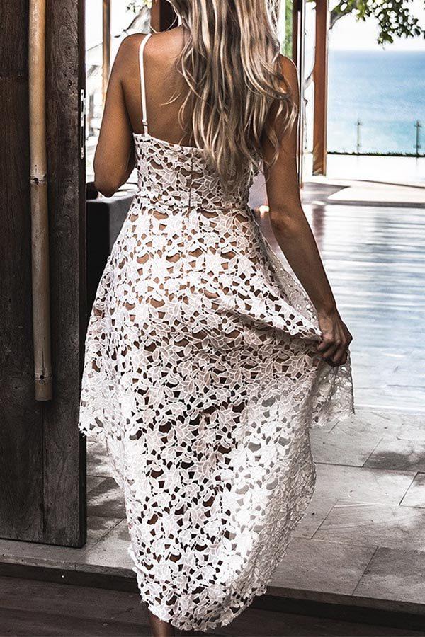 Hualong Strap V Neck Sleeveless White Lace Dress