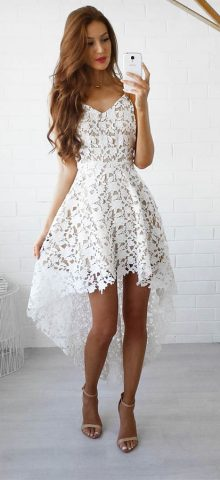 Hualong Strap V Neck Sleeveless White Lace Dress