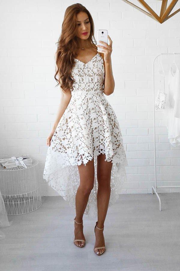 65d2b49eedb Hualong Strap V Neck Sleeveless White Lace Dress - Online Store for ...