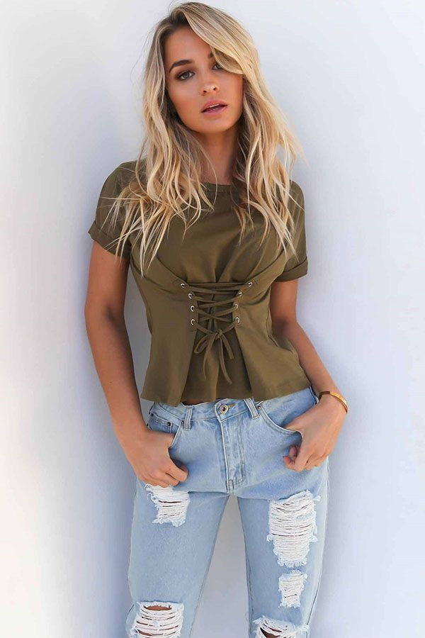 Hualong Women Sexy Short Sleeve Lace Up Front Top