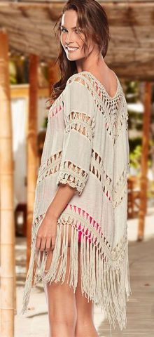 Hualong Sexy Cut Off Fringing Crochet Beach Cover Up
