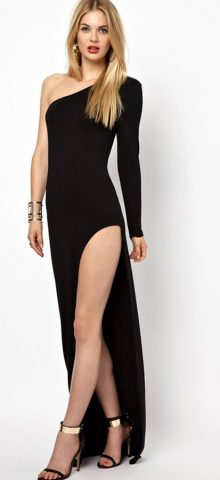 Hualong Sexy Party Side Slit One Shoulder Dress