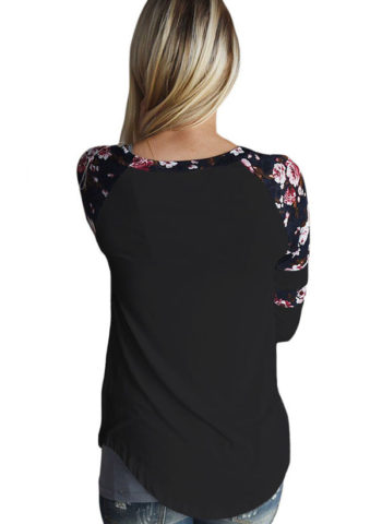 Hualong Charming Long Sleeve Floral Ladies Tee Shirts