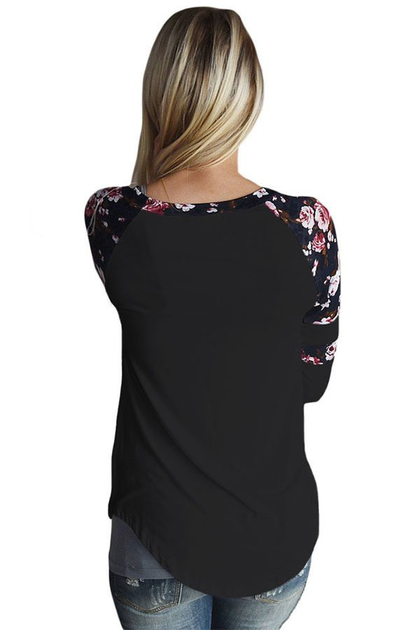 Hualong Charming Long Sleeve Floral Ladies Tee Shirts