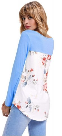 Hualong Floral Back Women's Longline T Shirts