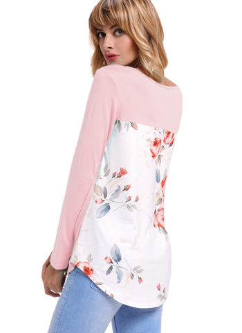 Hualong Floral Back Women's Longline T Shirts
