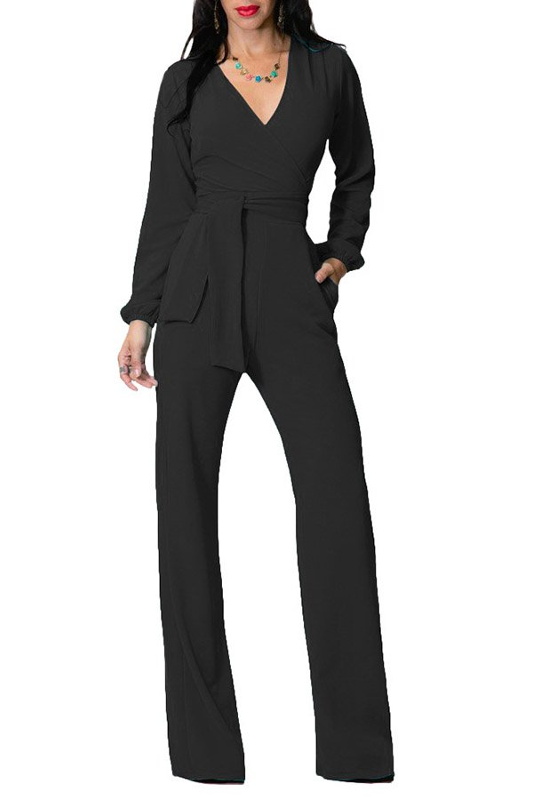 9fc969fabb7 Hualong Long Sleeve Womens Black One Piece Fitted Jumpsuit - Online ...