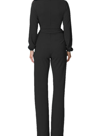Hualong Long Sleeve Womens Black One Piece Fitted Jumpsuit