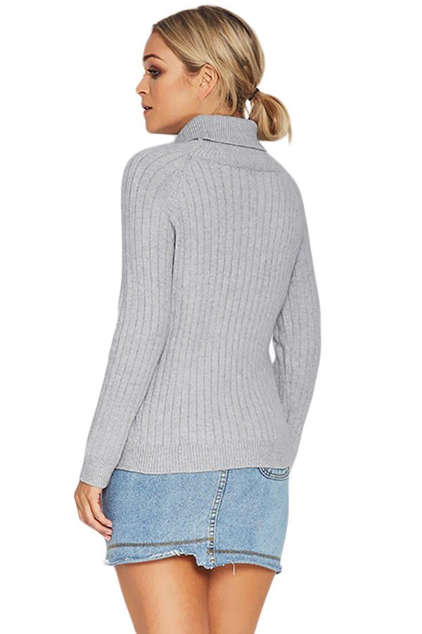 Hualong Pure Color Long Sleeve Turtleneck Cable Knit Sweater