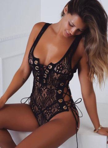 Hualong Sexy Sleeveless Lace Up Black Lace Bodysuit