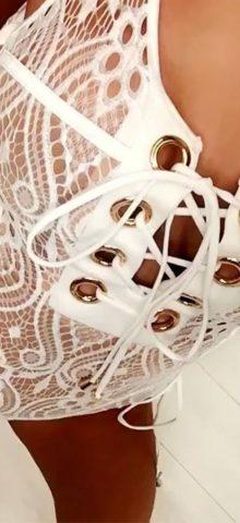 Hualong Sexy Sleeveless Lace Up White Lace Bodysuit
