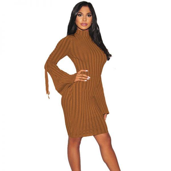 Hualong Cheap Flare Sleeve Sexy Long Sleeve Dresses