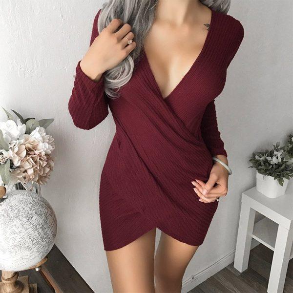 Hualong Deep V Neck Midi Sexy Going Out Dresses