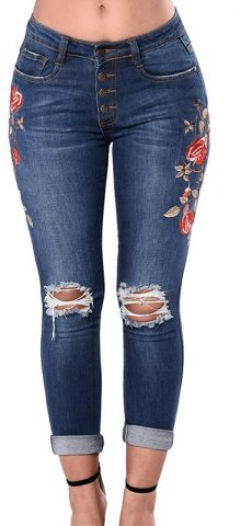 Hualong High Quality Women Flora Plus Size Distressed Jeans