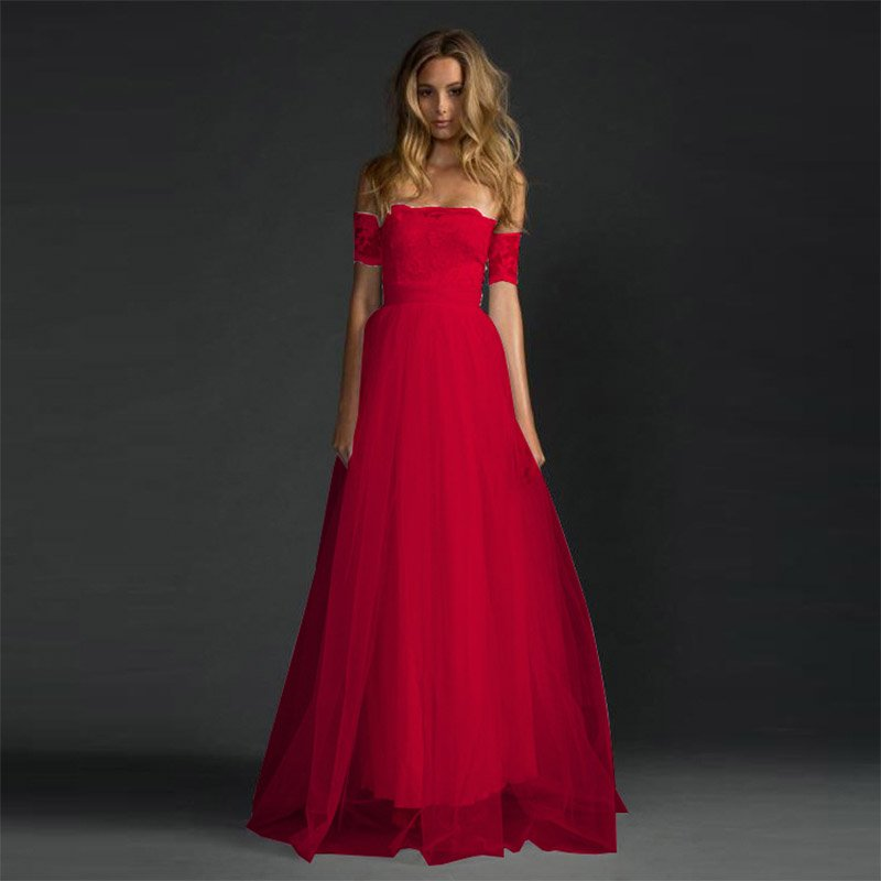 3bbe91e7aa1 Hualong Long Lace Off Shoulder Red Formal Dresses For Juniors ...