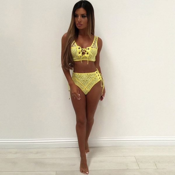 Hualong Sexy Lace Up Two Piece Swimsuits