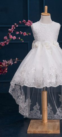 Hualong Sleeveless Trailing Lace Flower Girl Dresses