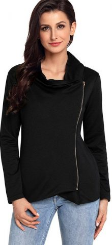 Hualong Winter Chic Zip Black Womens Fashion Jackets