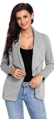 Hualong Winter Chic Zip Black Womens Gray Blazer