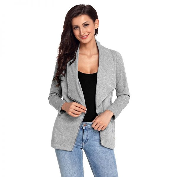 Hualong Winter Chic Zip Black Womens Gray Blazer