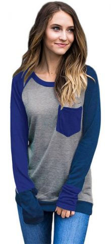 Hualong Winter Splice Color Full Sleeves Tops For Womens