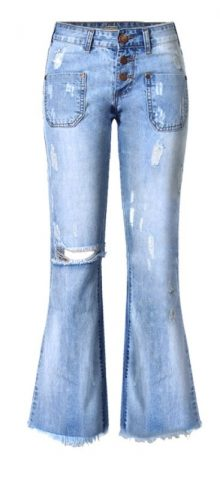 Hualong Women Fashion Ripped Low Rise Flare Jeans