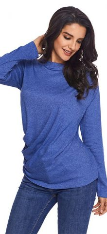 Hualong Polyester Blue Womens Loose Fitting Tops