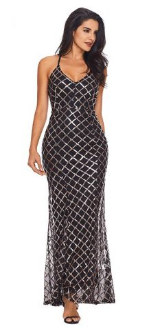 Hualong Women Black Gold Long Sparkly Party Dresses