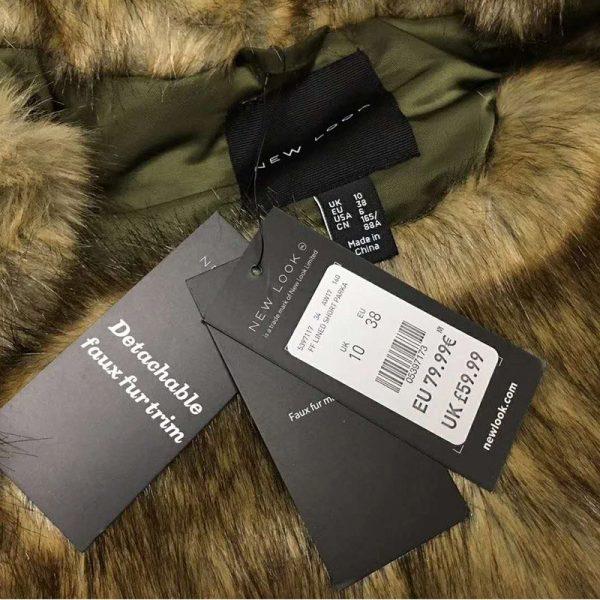 Hualong Womens New Look Khaki Faux Fur Hooded Coat