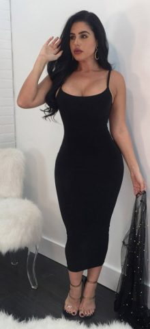 Hualong Sexy Club Strape Black Open Back Dresses