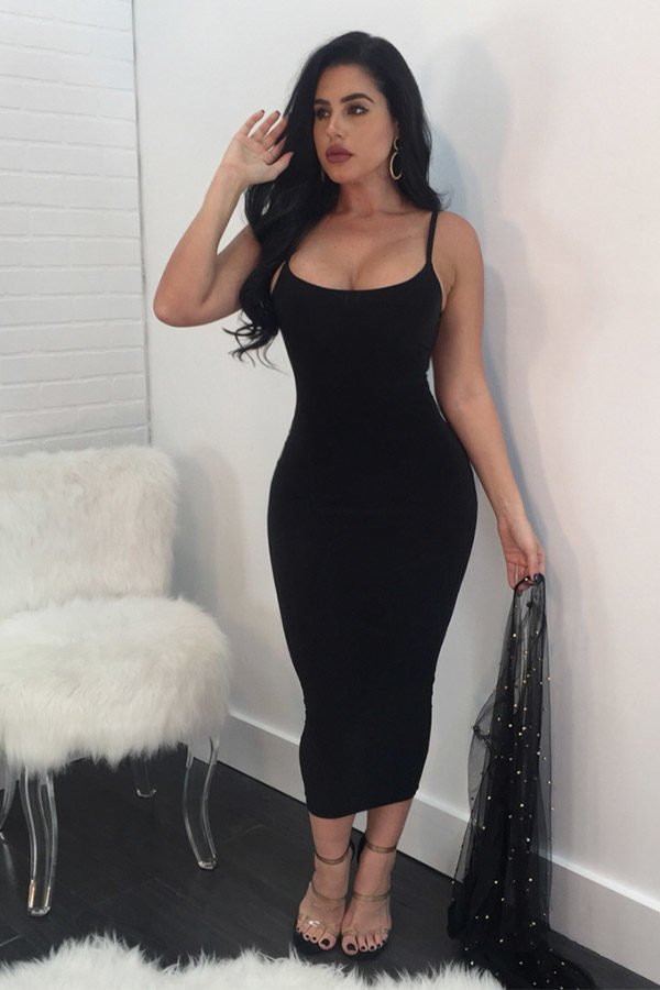 Hualong Sexy Club Strape Black Open Back Dresses