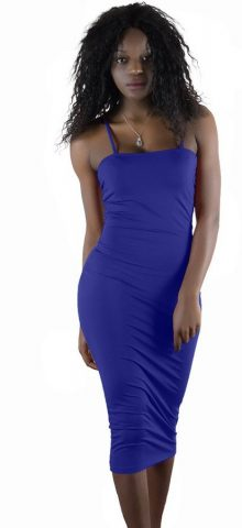 Hualong Sexy Club Strape Blue Open Back Dresses