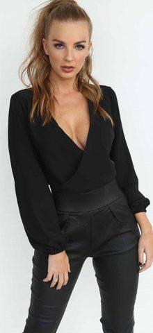Hualong Sexy Long Sleeve Black Tie Back Dress