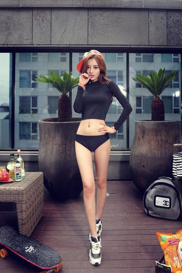 359e72d83 Hualong Sexy Long Sleeve High Neck Two Piece Swimsuit - Online Store ...