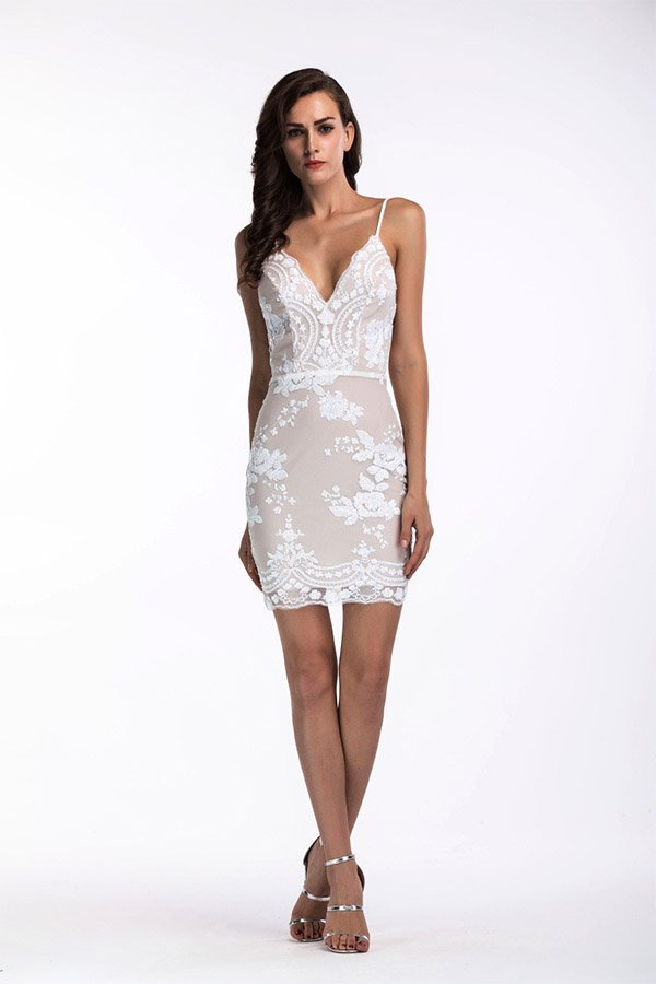 16ffc12e0c3 Hualong Sexy Backless Strap Braces White Deep V Sequin Dress 2 ...