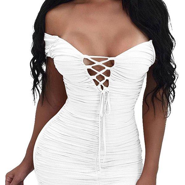 e706e243c Hualong Sexy Club Deep V Neck Midi Dress - Online Store for Women ...