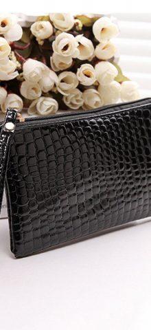 Hualong Crocodile Grain Black Ladies Leather Purse Wallet