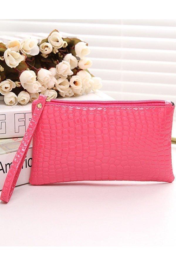Hualong Crocodile Grain Pink Ladies Leather Purse Wallet