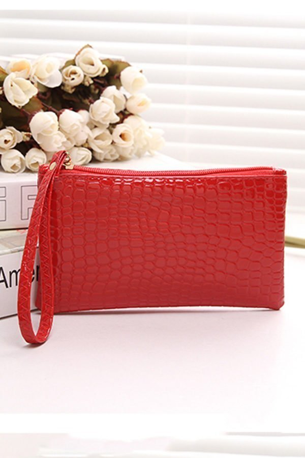 Hualong Crocodile Grain Red Ladies Leather Purse Wallet