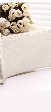 Hualong Crocodile Grain White Ladies Leather Purse Wallet