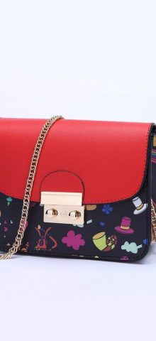 Hualong Cute Printed Shining Chain Red Ladies Side Purse