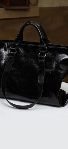 Hualong Luxury Leather Black Large Shoulder Bags
