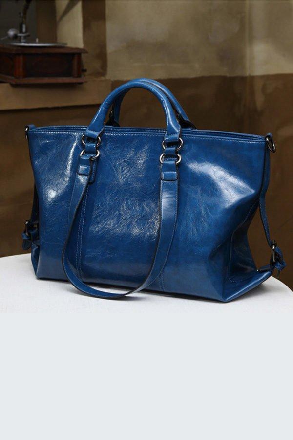 Hualong Luxury Leather Blue Large Shoulder Bags