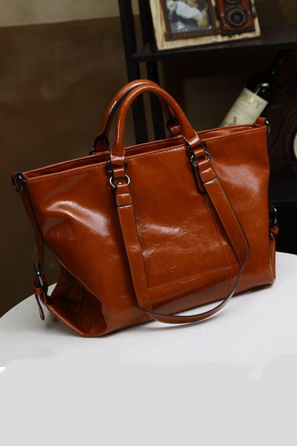 Hualong Luxury Leather Brown Large Shoulder Bags