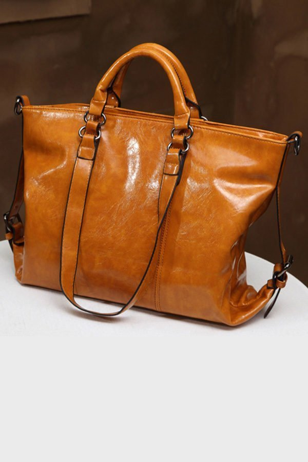 Hualong Luxury Leather California Yellow Large Shoulder Bags