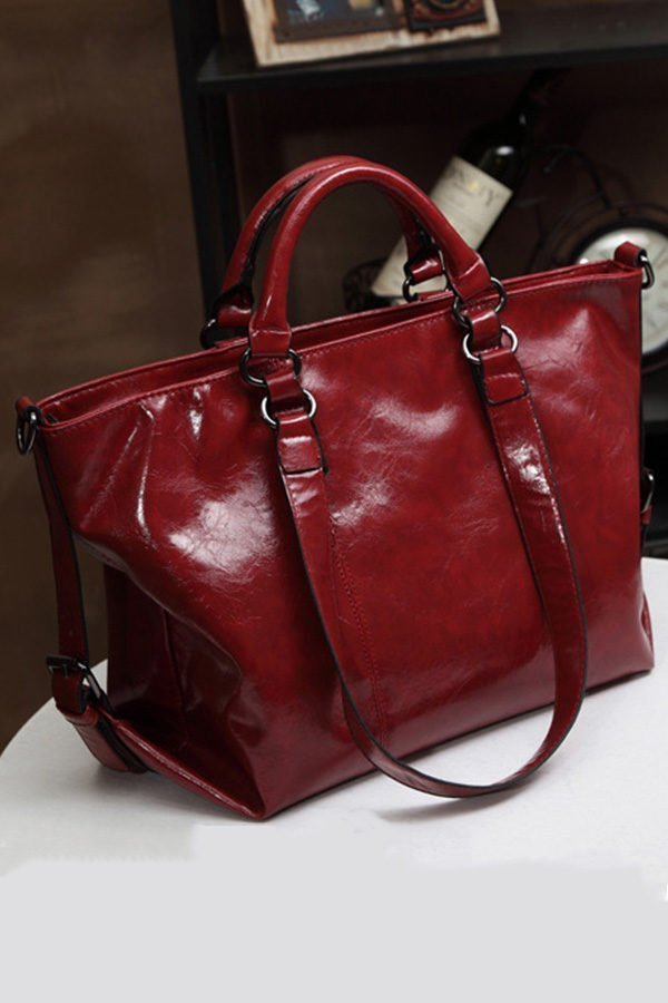 Hualong Luxury Leather London Red Large Shoulder Bags