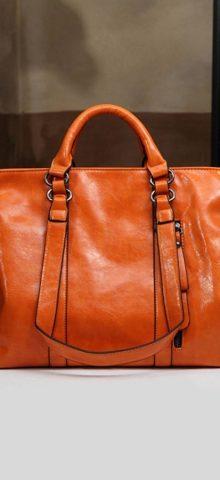 Hualong Luxury Leather Paris Orange Large Shoulder Bags
