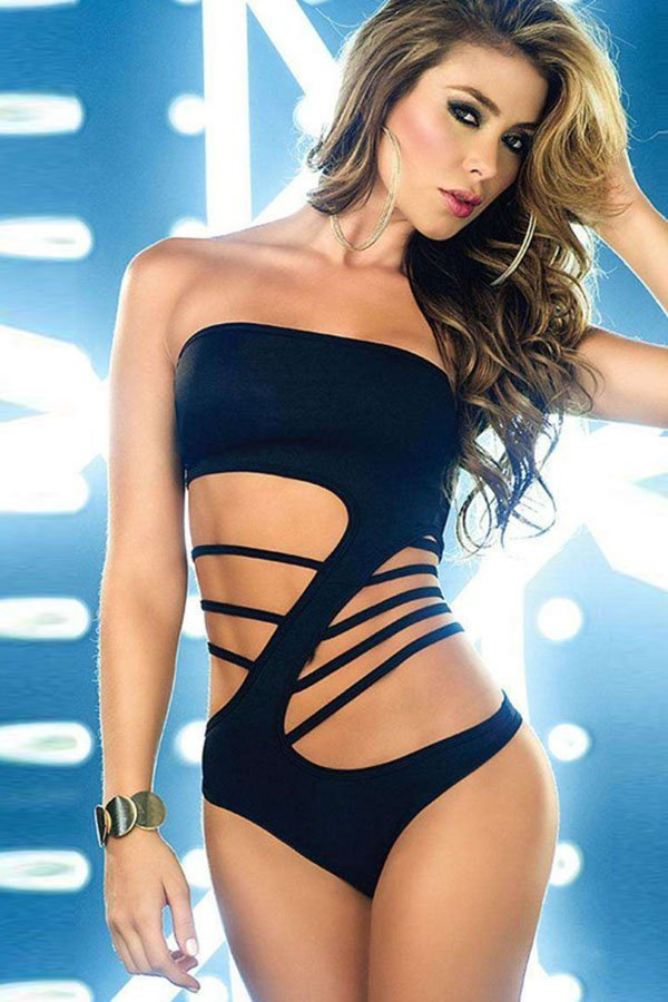 14ed866ffd97d Hualong Sexy Black Cut Out Off The Shoulder Bathing Suit - Online ...