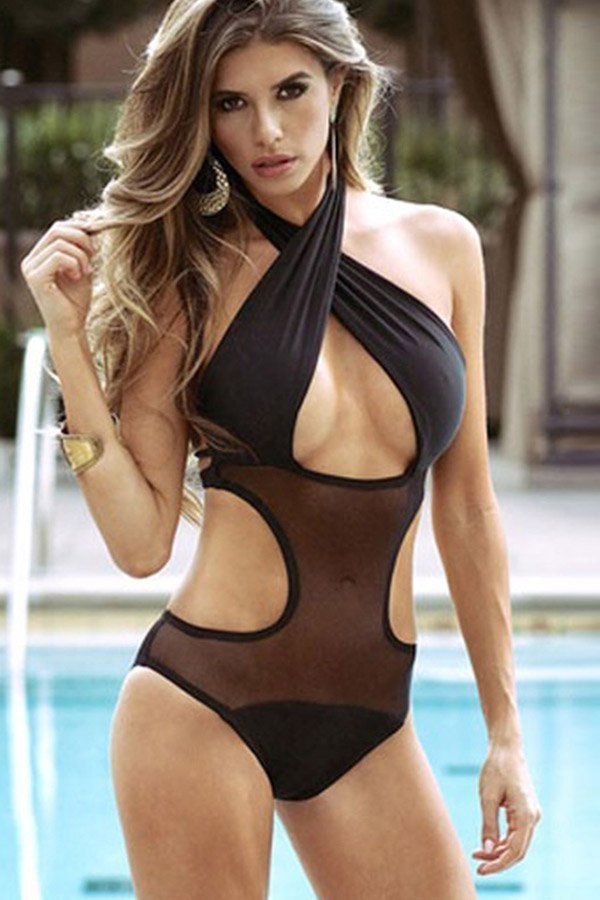 856260659 Hualong Sexy Black Sheer Halter One Piece Swim - Online Store for ...