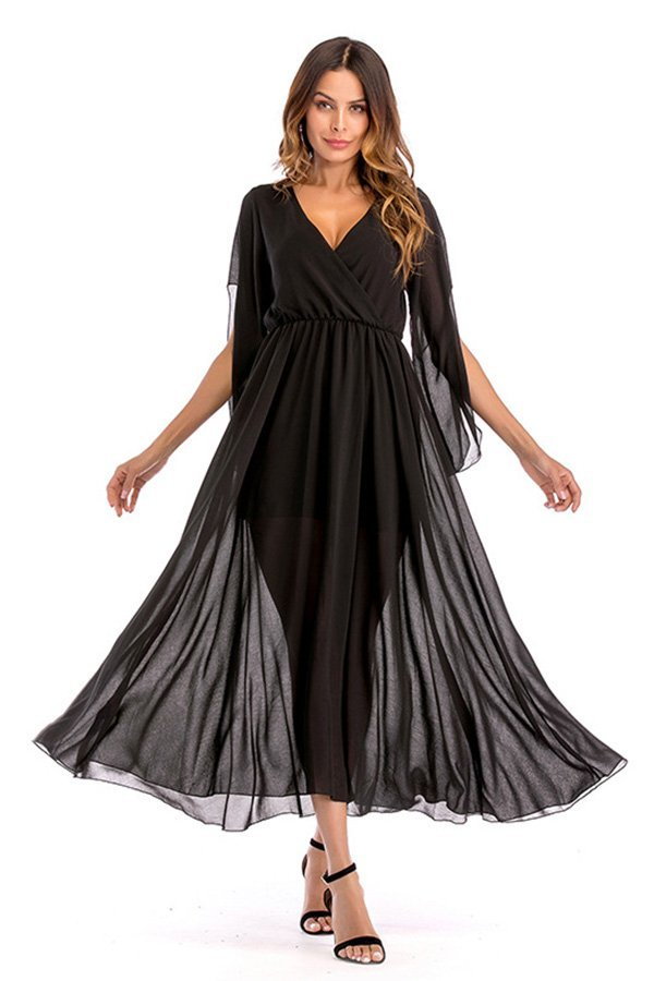 890f7f8ce Hualong Sexy Chiffon V Neck Dress With Sleeves - Online Store for ...